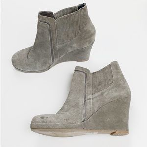 DV by Dolce Vita Gray Suede Slip On Wedge Booties